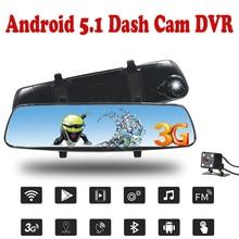 """Ритм 3 г автомобиль Android 5.0 GPS Камера 7 """"сенсорный экран Автомобильный видеорегистратор Bluetooth зеркалом заднего вида регистраторы Двойной объектив автомобиля DVRs"""