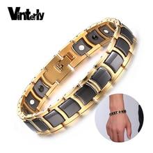 Vinterly Steel Magnetic Bracelet Male Black Ceramic Energy Germanium Bracelets Men Hand Chain Gold Color Hologram Bracelets 2018