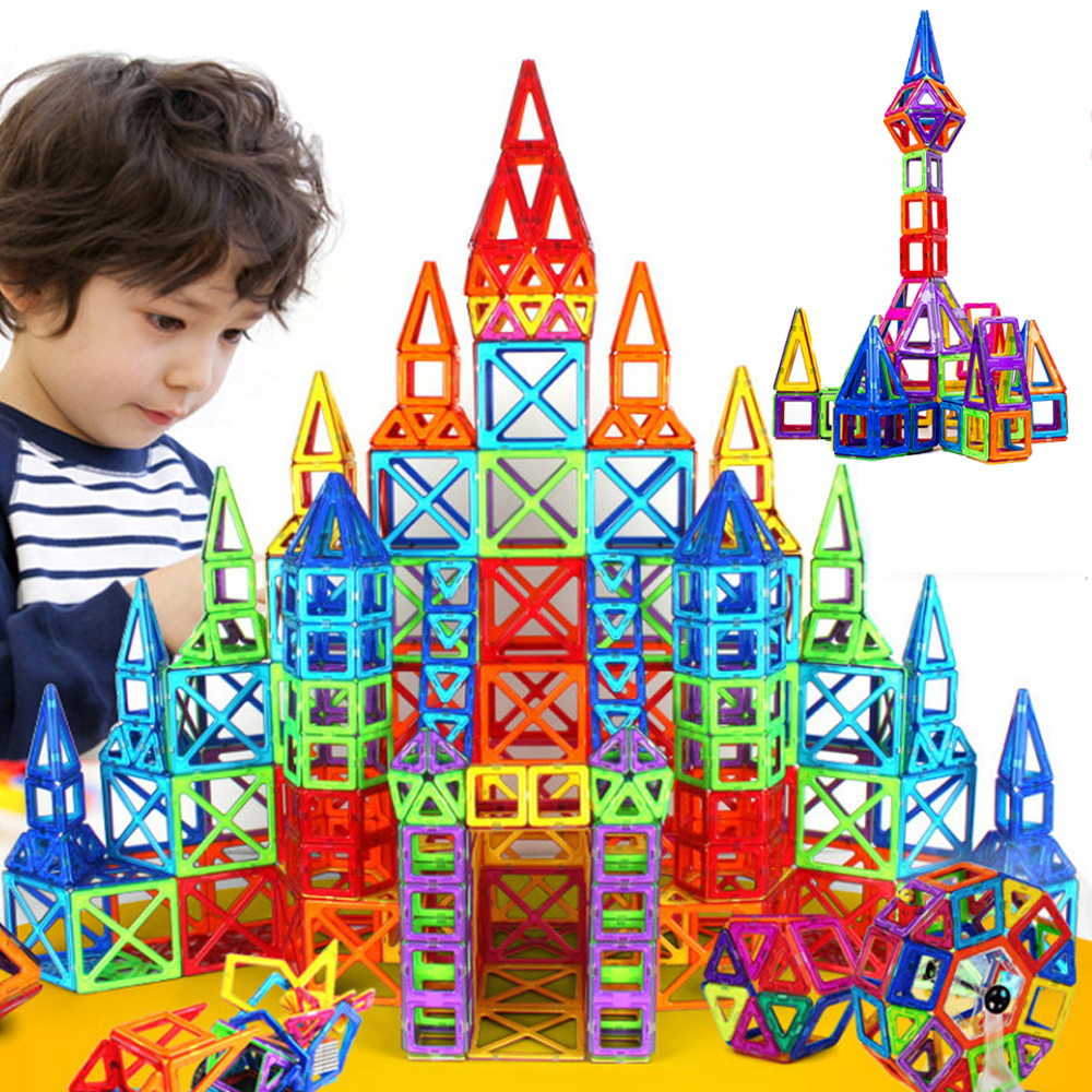 ФОТО 164pcs Mini Magnetic Designer Construction Set Model & Building Toy Plastic Magnetic Blocks Educational Toys For Kids Gift