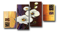 Home Decor Wall Art Acrylic Floral Paintings Sets 4 Panel Pictures Hand Painted Abstract Big White