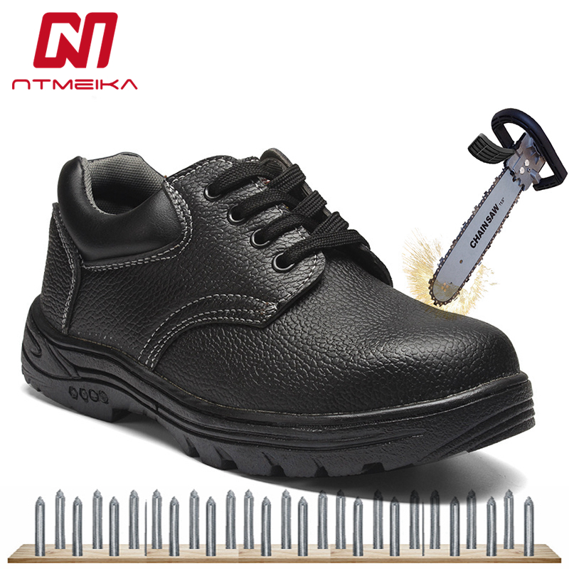 Amiable Men Work Safety Shoes Steel Toe Pu Leather Work Safety Boots Men Puncture Proof Protection Footwear Big Size 36-46 Mb-29 Pleasant To The Palate Men's Shoes
