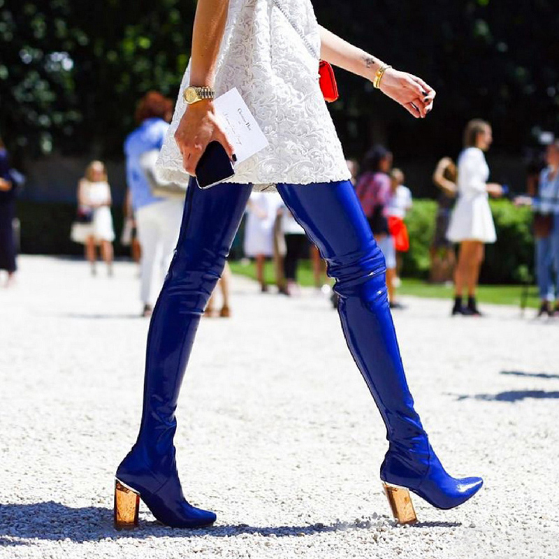 Sexy Pointed Toe Transparent Heel Botas Mujer Zipper Detail Thigh High Boots New Arrival Spring Autumn Dress Shoes Women
