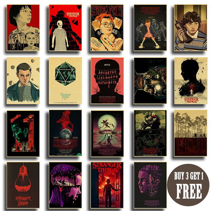 New Enhanced Stranger Things Movie Retro Posters Home Decor Kraft Paper Vintage Clear Image Painting Wall Stickers