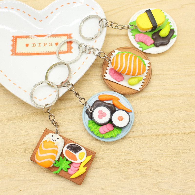 Wholesale 4pcs Cute Cartoon Plastic Simulation of Japanese cuisine Keychain For Women Handbag Keyring Jewelry