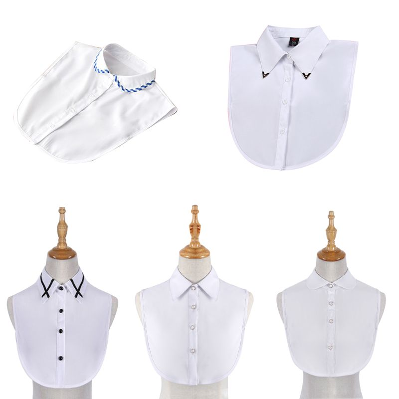 White Chiffon Fake Collar Detachable Round Collar Pointed Lapel Blouse Top Formal