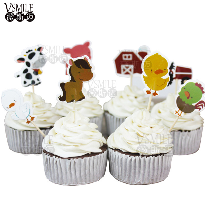 24pcs Cute Animals Duck Dinosaur Princess Pony Turtle Cupcake