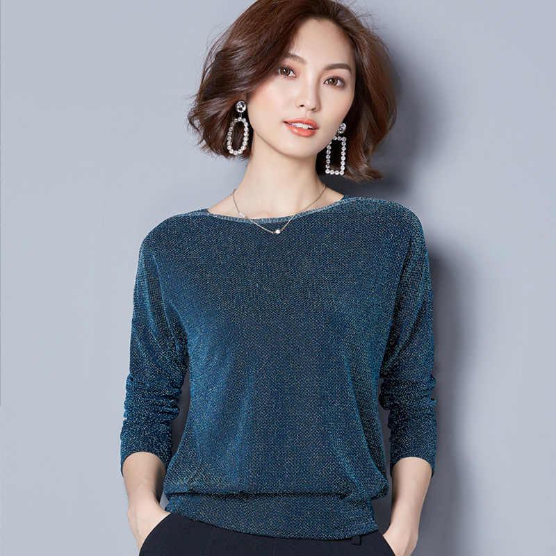 Kadın üstleri 2019 moda uzun kollu kadın bluz gömlek gevşek artı boyutu dantel bluz mor mavi kadın giyim blusas 83J 30