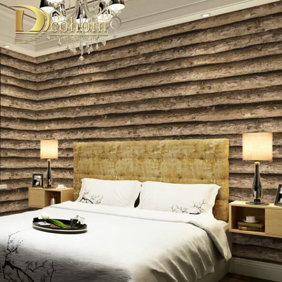 Imitation fond d'écran d'écorce Arbre motif salon étude fond simple en trois dimensions pvc revêtement mural en bois