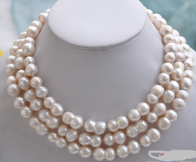 Free Shipping ***Hot sale >>50 WHITE peanut DOUBLE BAROQUE FRESHWATER PEARL NECKLACE