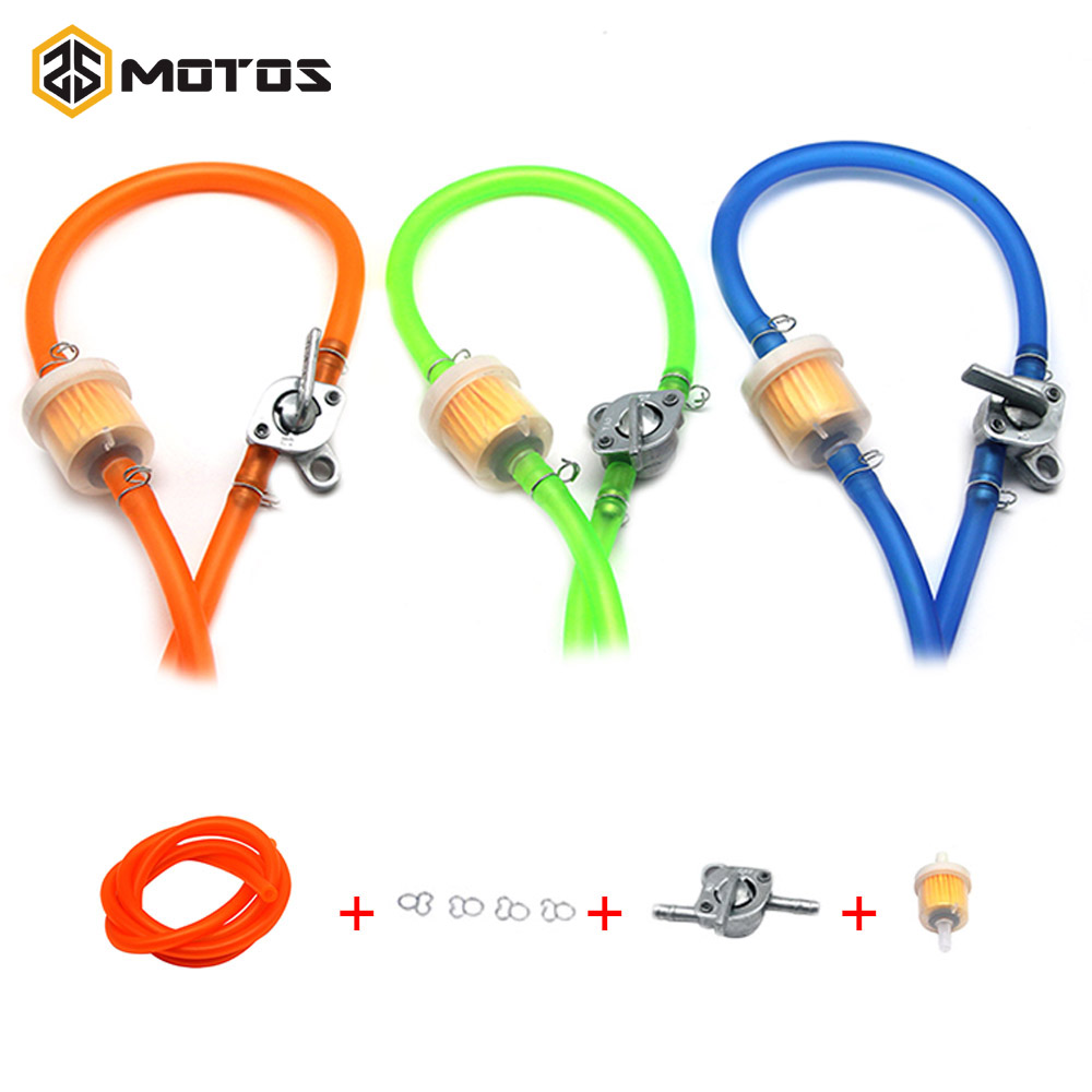 ZS MOTOS 6mm Motorcycle Petrol Fuel Tap Valves On/Off Switch + Oil tube+Oil filter Inline Petcock Pit Dirt Bike ATV UTV Scooter