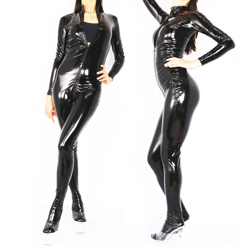 Cosplay PVC Shiny Bodysuit Full Body Catsuits Three Way Zipper Elastic Leotard Bodysuit Moto Biker Club
