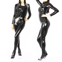 Cosplay PVC Shiny Bodysuit Full Body Catsuits Three Way Zipper Elastic Leotard Bodysuit Moto Biker & Club Dance Wear Women F135