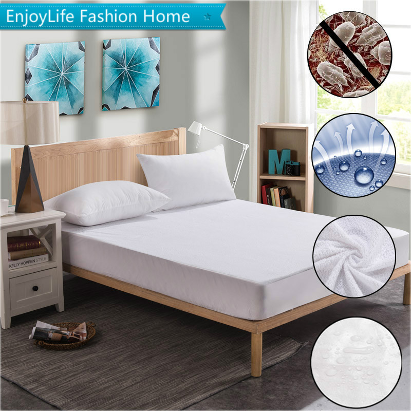 Russian 200X200cm Cotton Terry Waterproof Mattress Protector For Bed Wetting Machine Washable Matress Cover Matelas Protection