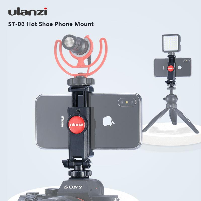 Ulanzi ST-06 Adjustable Phone Holder Quick Release Hot Shoe Mountfor Smartphone IPhone GoPro JVC Xiao Yi Sports Camera