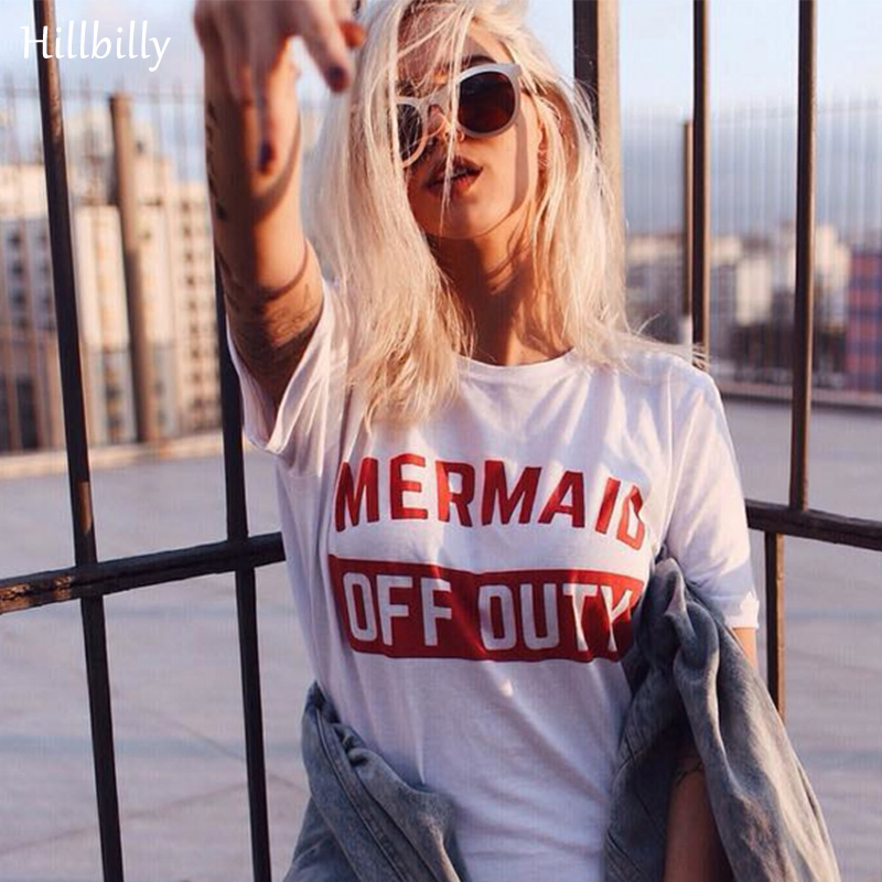 Hillbilly Merah Surat Mermaid OFF Duty Surat T-shirt Wanita Mode Plus Ukuran Street Wear Tees Tshirts Musim Panas 2017 Hadiah C1-41