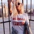 Hillbilly letras rojas sirena fuera de servicio letra T-shirts mujeres moda Plus Size Street Wear camisetas Verano 2017 regalo C1-41