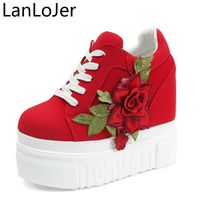 LanLoJer Red Rose Hidden Wedge Heels Fashion Womens Elevator Shoes For Women Breathable Lace Up Height Increasing Shoes
