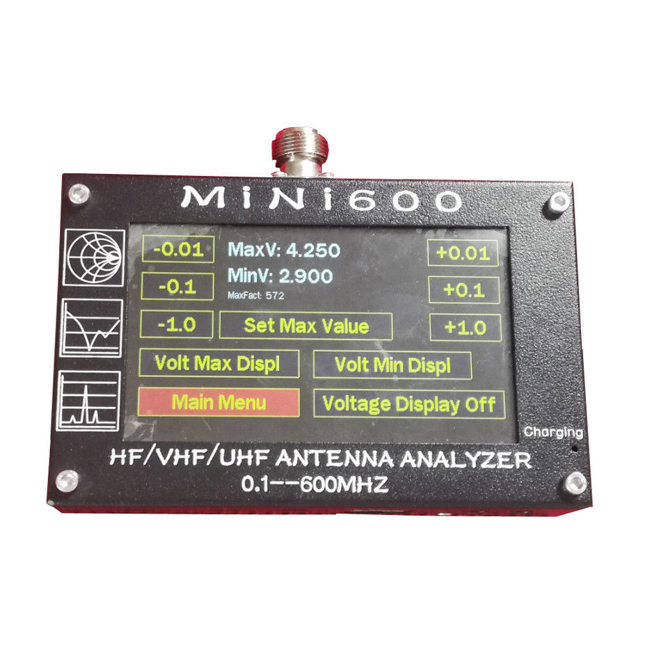 Nouvelle arrivée Mini600 4.3 Tactile LCD 0.1-600 mhz HF/VHF/UHF ANT SWR Antenne Analyzer mètre + Batterie