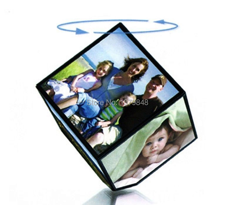 MAGIC CUBE REVOLVING PICTURE PHOTO FRAME CUBE MULTIPLE PICTURE FRAME ...