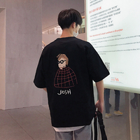 2018 Summer Newest Men S Fashion Printing Round Collar Short Sleeves Loose Casual White Black Grey