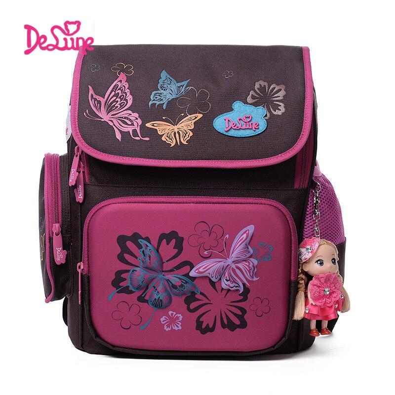 2017 Delune School Bags Children Backpacks Burden Reducing School Backpacks Polyester Material Butterfly Backpack For Girls