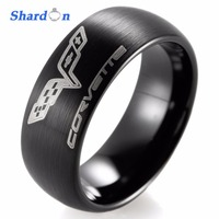 SHARDON Wedding Band Engagement Jewelry Tungsten Shiny Ring With Three Color Domed Chevrolet Chevy Corvette Logo
