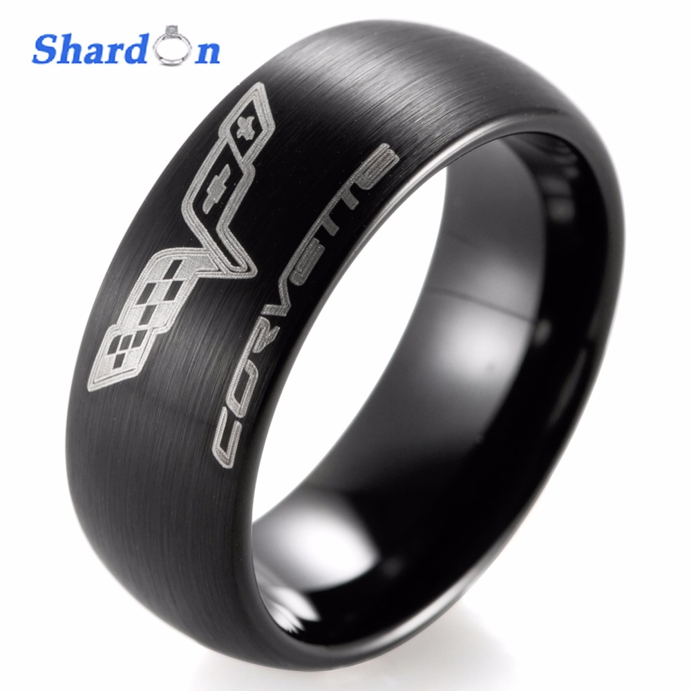 SHARDON Wedding band Engagement jewelry Tungsten shiny ring with three color Domed Chevrolet Chevy Corvette Logo Ring