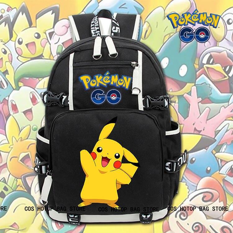 Hot Game Pokemon GO Pikachu Backpack Knapsack Packsack Travel Student School Bag