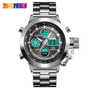 Image 2 - SKMEI יוקרה גברים של קוורץ הדיגיטלי שעון ספורט שעונים עמיד למים זכר שעוני יד 2 זמן הכרונוגרף שעון Relogio Masculino 1515