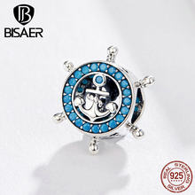 BISAER 925 Sterling Silver Brave Maritime Travel Tour Dream Charms Anchor Beads fit Original Bracelets DIY Jewelry ECC1200(China)