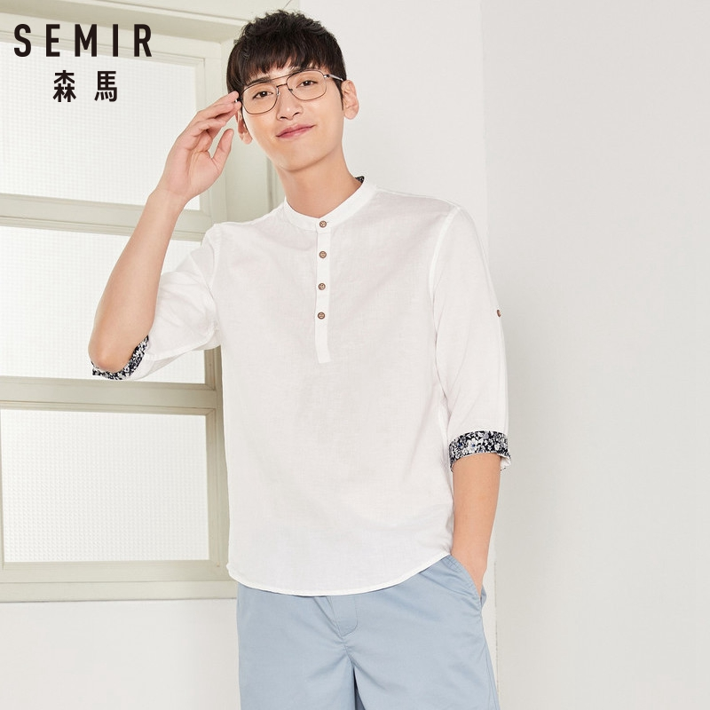 SEMIR Men Shirt 2018 Brand Fashion Casual Slim Short Sleeve Dress Shirt Cotton Plus Size Solid Color Top Clothes White Black