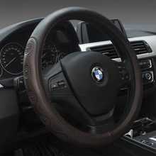 KKYSYELVA Leather Car steering wheel cover 38cm Black Wheel Cover Steering-wheel covers Interior Accessories
