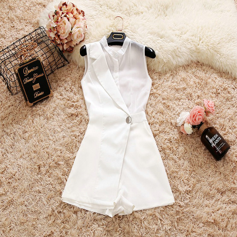 2018 summer new female bodysuits womens suit collar Single-breasted waist chiffon jumpsuit elegant wide leg shorts playsuits ...