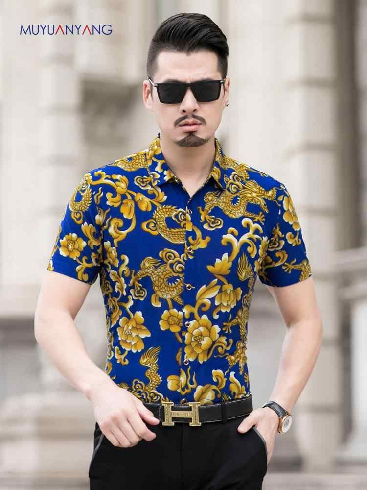 2019 camisa de verano de los hombres de marca de diseñador chino dragón estampado camisetas sociales hombres de manga corta ajustado Fit Turn Down Collar blusas