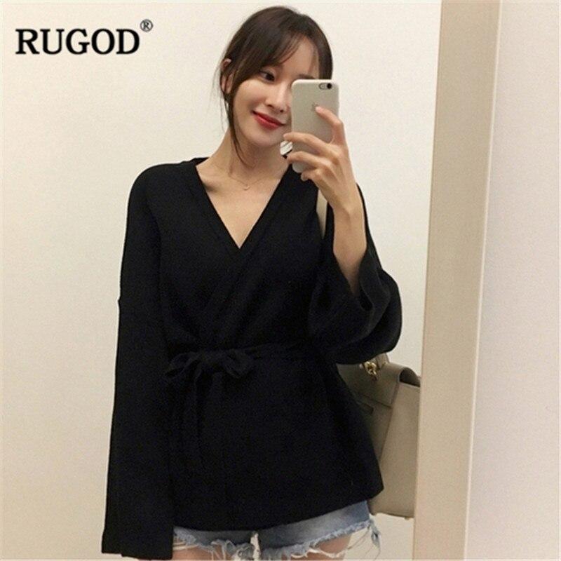 Image 5 - Женский кардиган с длинным рукавом RUGOD, однотонный Повседневный  вязаный свитер с поясом, осенне зимняя одежда, 2019Кардиганы   -