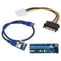 60 cm PCI-E 1x a 16x PCIe PCI Express USB 3.0 Extender Cable Sata a IDE de $ number Pines Molex Power Supply para BTC Minero RIG