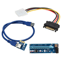 60cm PCI-E PCIe PCI Express 1x to 16x Riser USB 3.0 Extender Cable with Sata to 4Pin IDE Molex Power Supply for BTC Miner RIG