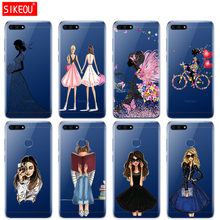 Silicone Cover Phone Case For Huawei Honor 7A PRO 7C Y5 Y6 Y7 Y9 2017 2018 Prime Beautiful Love Dress Shopping Girl(China)