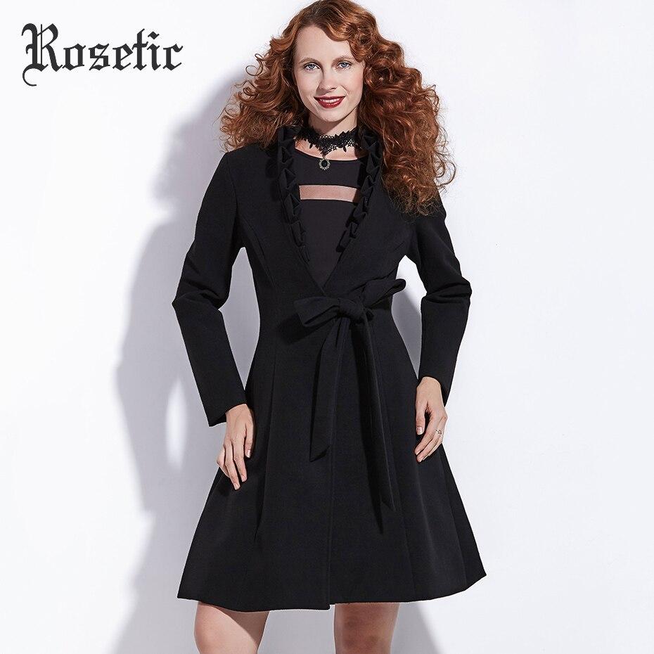 Rosetic Gothic Coat Black Women Autumn Hemline Trench Winter Warm Outwear Fashion Vintage Streetwear Overcoat Preppy Goth Coats