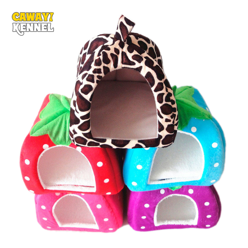 Cawayi Kennel Foldable Cat Dog Kennel Warm Dog Bed Cushion Strawberry Shape Sponge Pet House Dog Nest D0014