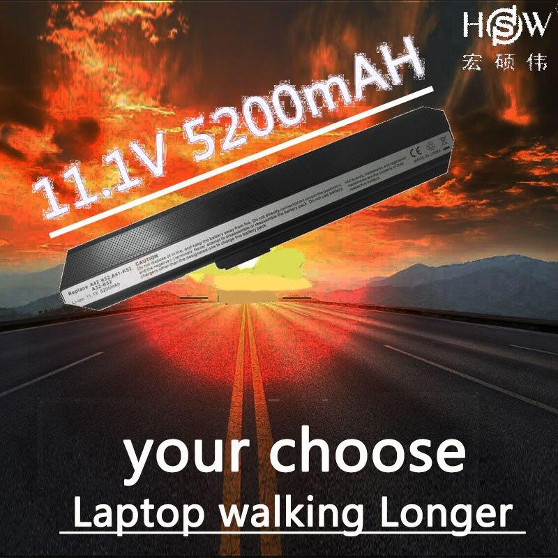 HSW 5200 mah batterie pour ASUS A31-K42 A32-K42 A52F A52J A52JB A52JK A52JR K42 K42JB K42JK K42JR K42JV K52 K52J k52JB K52JC K52JE