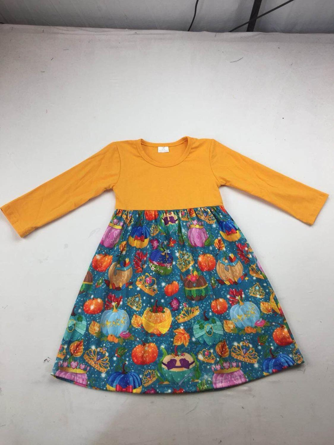 hot sell children boutique clothing long sleeve pumpkin pattern girls halloween dress(China)