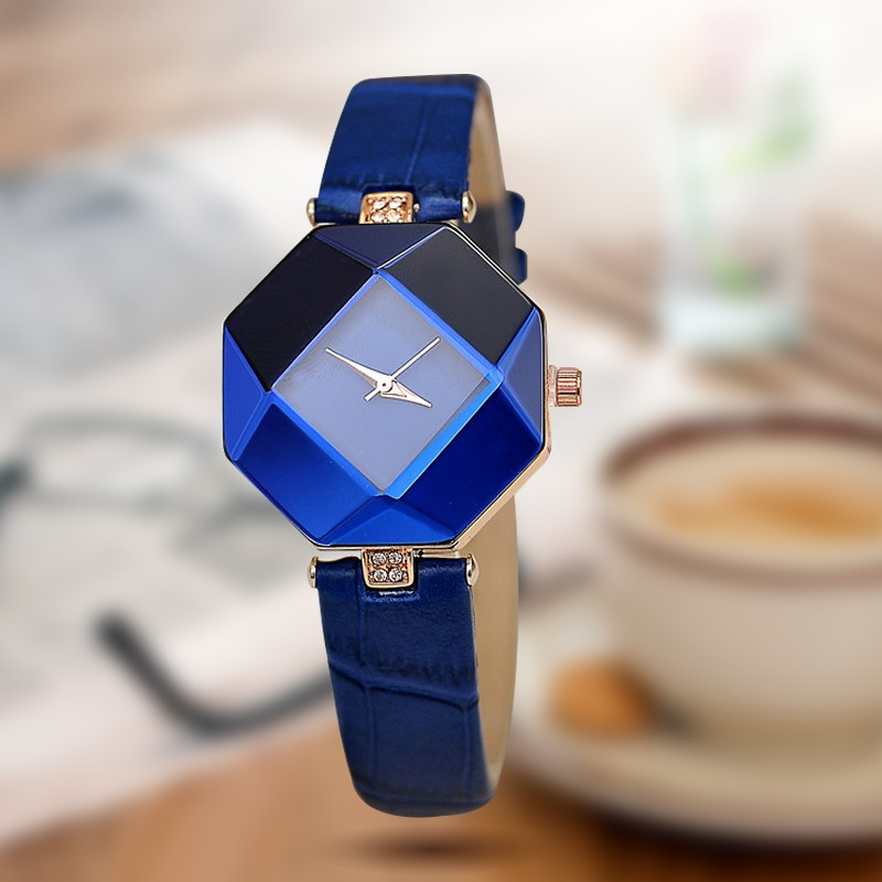 Gem Cut Geometry Crystal Leather Quartz Women Watch