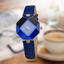 Mulheres Relógios Gem Geometria de Corte Presentes de Cristal de Quartzo de Couro relógio de Pulso Vestido Moda Assista Senhoras Relógio Relogio feminino 5 cores