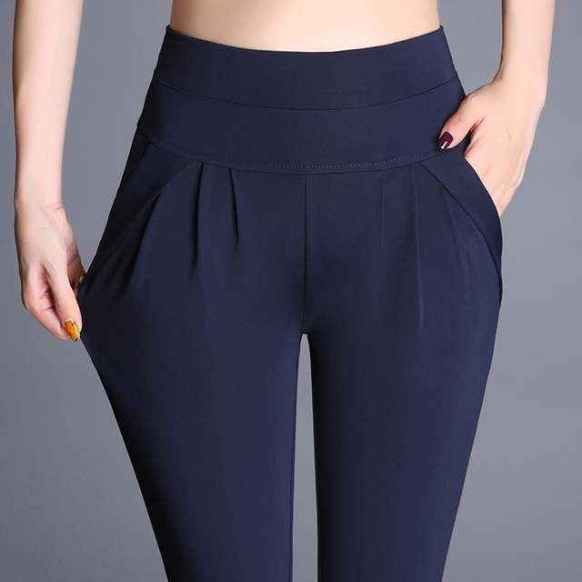 Plus Size High Waist Pants Women Vintage Pleated Harem Pants Loose Trousers Stretch Casual Office Pants Female Pantalon Mujer