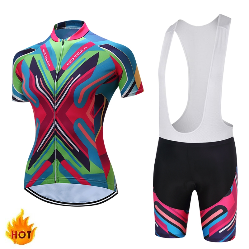 TELEYI Adina Short Sleeve Breathable MTB Bike Clothing Women Bicycle Clothes Ropa Ciclismo 100 Polyester Cycling