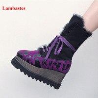 Фиолетовый волосатые Кружево на шнуровке квадратный носок Для женщин высокие ботильоны с леопардовым принтом на платформе stivali femminili Star Пов