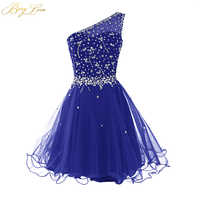Berylove One Shoulder Homecoming Dress 2019 Royal Blue Mini Crystals Beaded Tulle Short Girl Gown Prom Dress Mini Party Dress