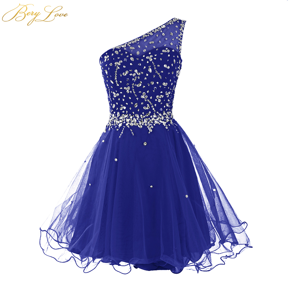 Berylove One Shoulder Homecoming Dress 2020 Royal Blue Mini Crystals Beaded Tulle Short Girl Gown Prom Dress Mini Party Dress