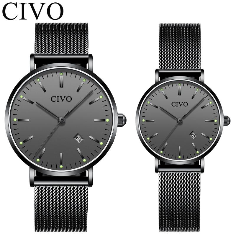CIVO คู่แฟชั่นนาฬิกาสำหรับคนรัก Top ยี่ห้อ Luxury Diamond Montre คู่ชุดนาฬิกากันน้ำส่องสว่างนาฬิกาควอตซ์-ใน นาฬิกาควอตซ์ จาก นาฬิกาข้อมือ บน title=
